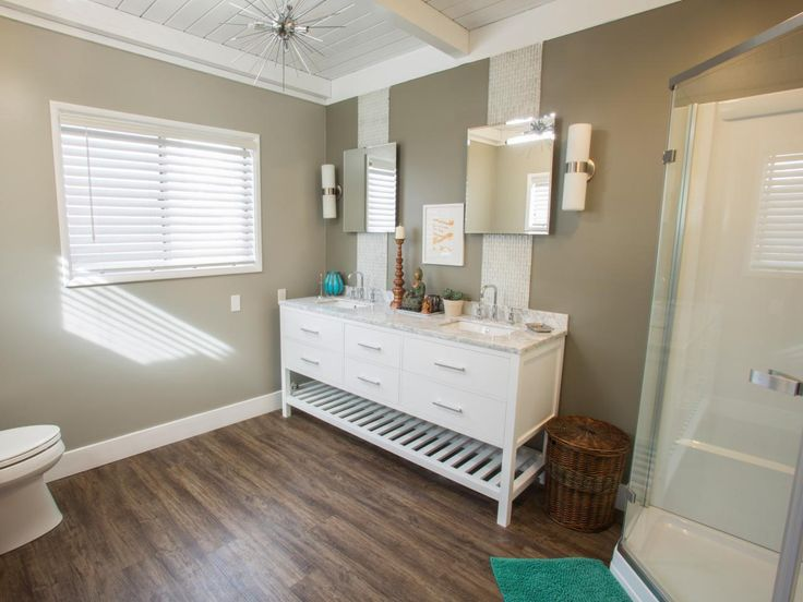 Photo Gallery In Website beadboard ceiling Once a non functional laundry room this space was transformed into a spacious spa like master bathroom on HGTV us Brother Vs A dual sink