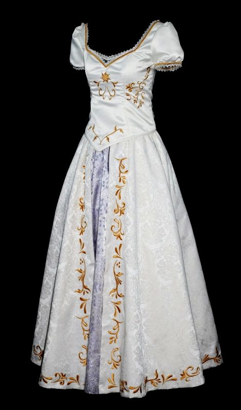 Tangled Wedding Dress, Rapunzel cosplay.. Not that I'm getting married any time soon but I'd like the bottom of this dress with a different top