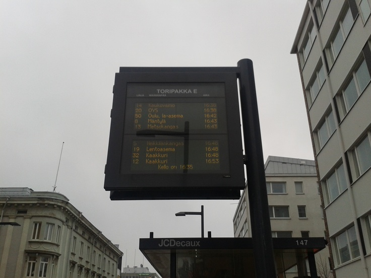 Some bus timetable in central Oulu.