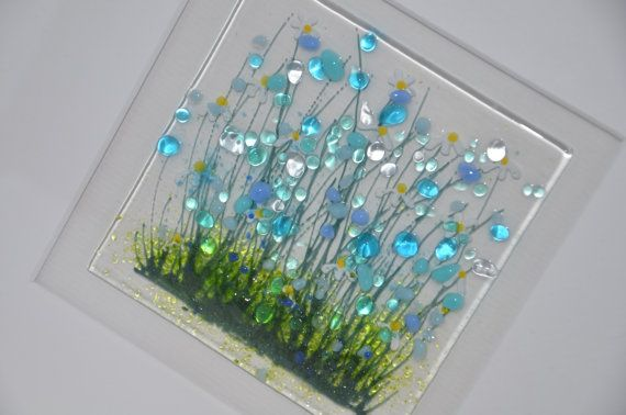 Handmade Fused Glass Art Cornflower Picture by PamPetersDesigns