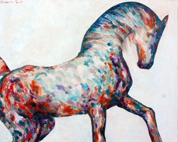 Original oil on canvas ORANGE HORSE // horse painting by Elisaveta Sivas // 25,6' x 31,9'