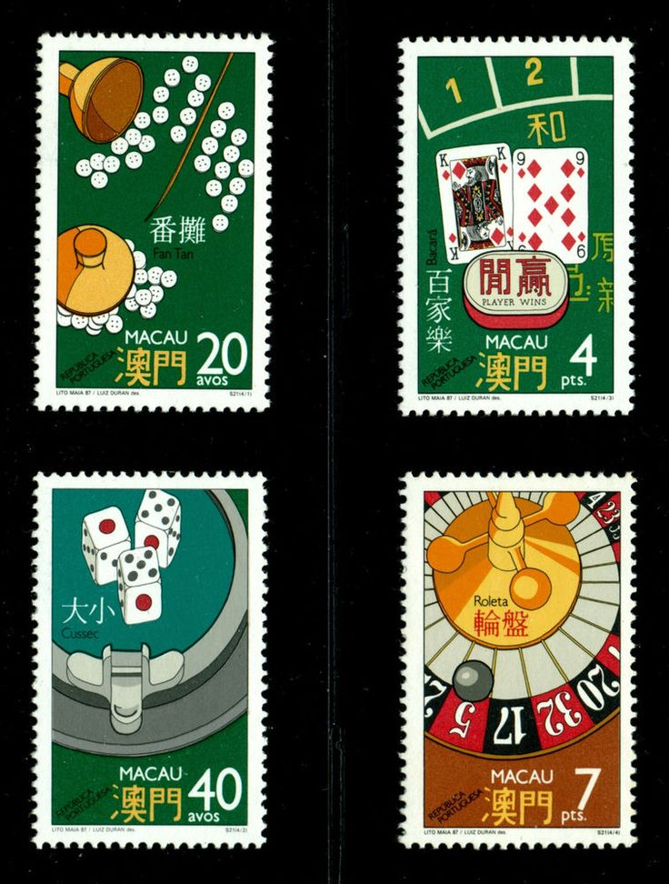 SCARCE & BEAUTIFUL MACAO MACAU 1987 CASINO GAMBLING SET, MINT NH SCOTT #551-554