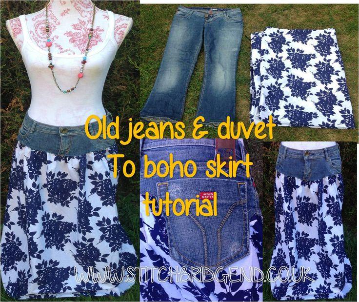 Jeans , duvet cover and the boho skirt tutorial