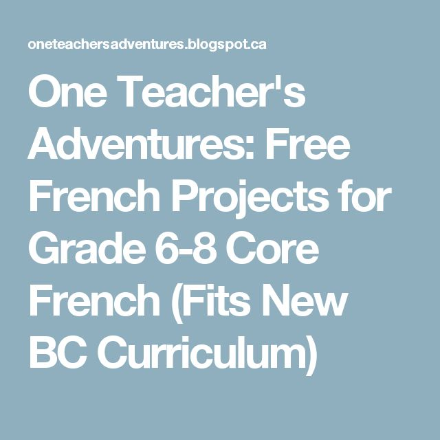 One Teacher's Adventures: Free French Projects for Grade 6-8 Core French (Fits New BC Curriculum)