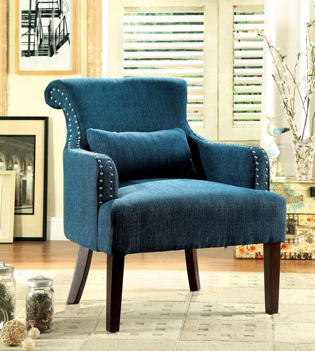 Agalva collection contemporary style Teal fabric upholstered rolled back accent chair with nail head trim