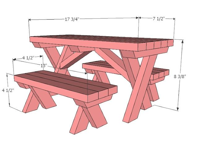 I want to make this!  DIY Furniture Plan from Ana-White.com  Make a doll picnic table for American Girl or 18 doll. vma.