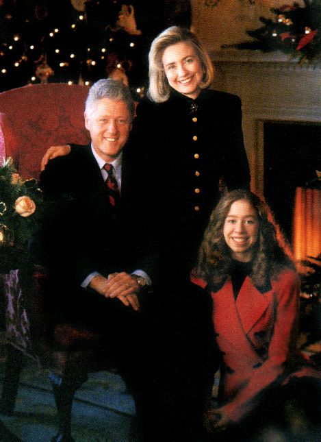 President Bill Clinton, First Lady Hillary Clinton and daughter Chelsea.