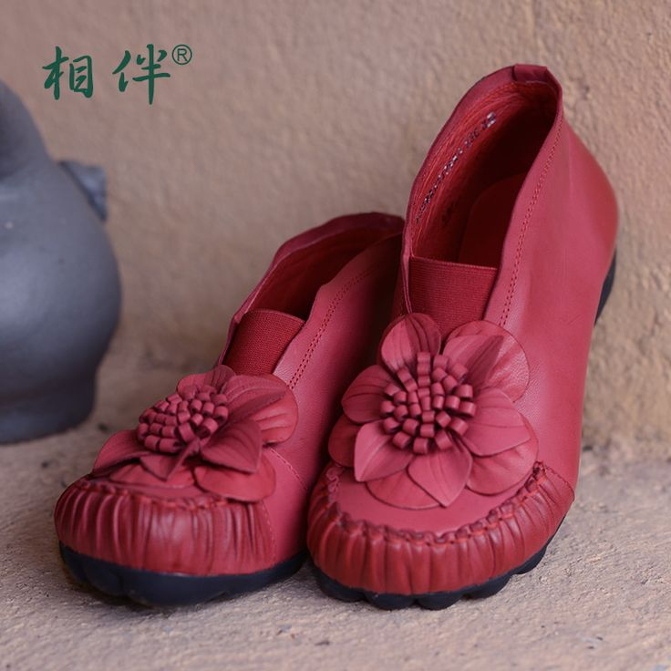Xiangban женская обувь красный старинные овчины ботильоны ethinic стиль высокой помощь обувь цветок увеличился высокие