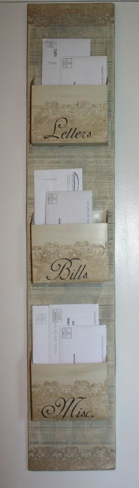 DIY Shabby Chic Mail Organizer from Dollar Store... something like this.