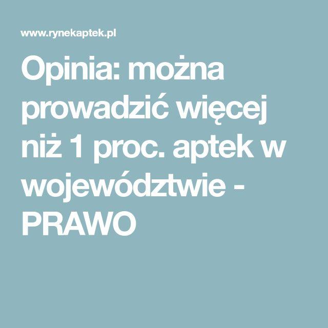 Opinia: można prowadzić więcej niż 1 proc. aptek w województwie - PRAWO