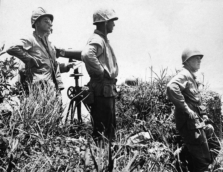 This is the last photograph taken of Lieutenant General Simon B. Buckner, Jr., USA, right, just before he was killed on 18 June 1945 observing the 8th Marines in action on Okinawa. #WWII #WW2