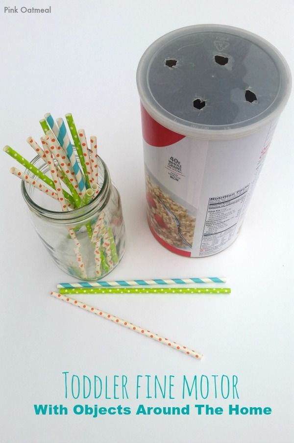 Toddler Fine Motor – With Objects Around The Home  Super simple DIY project for your toddler to work on fine motor skills!