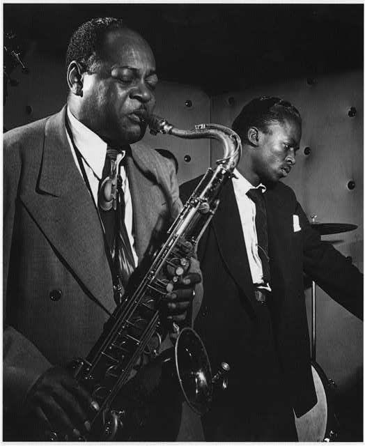 livingjazz: Coleman Hawkins and Miles Davis at Three Deuces, New York, N.Y. photo by William P. Gottlieb