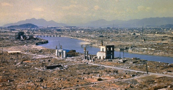 Eight months after the atomic bomb was dropped Hiroshima still stands in ruins, 1946