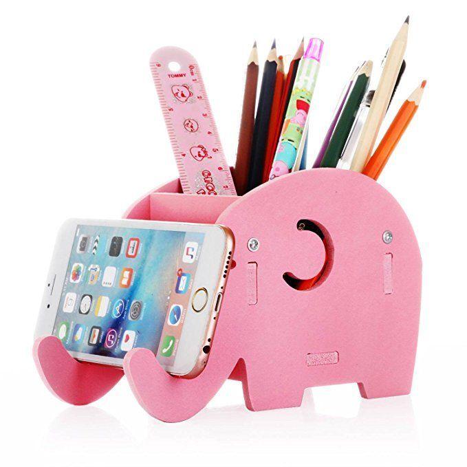 COOLBROS Elephant Pencil Holder with Phone Holder Bracket Desktop Organizer Stationery Storage Container