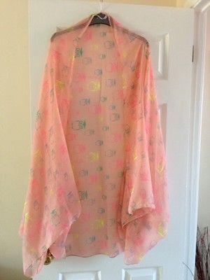 Blush Owl Print Scarf Cape Kimono  by Julia hearts you