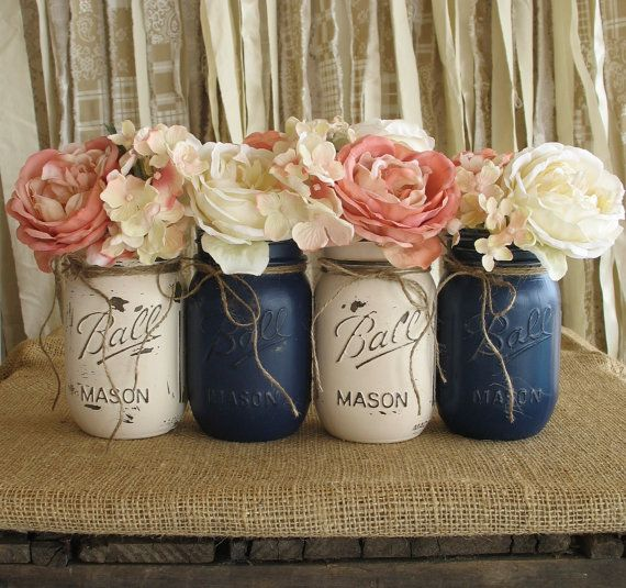 Gorgeous colour scheme for a country wedding! Navy and White Mason Jars paired with white and pink flowers.