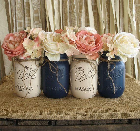 Country Wedding Centerpieces Mason Jars: Set Of 4 Pint Mason Jars, Ball Jars, Painted Mason Jars