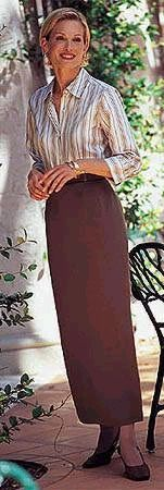"Modest chocolate pencil skirt outfit.  Gives a whole new meaning to ""eye candy""  Talbots c. 1995"