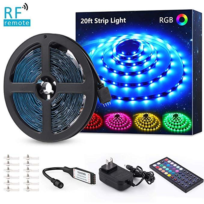 Amazon Com Novostella 20ft Rgb Led Strip Light Kit Flexible Color Changing 180 Units Smd 5050 Leds 12 Led Strip Lighting Rgb Led Strip Lights Strip Lighting