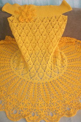 Vestido de crochet amarillo - Renee - Lei Yu Xuan