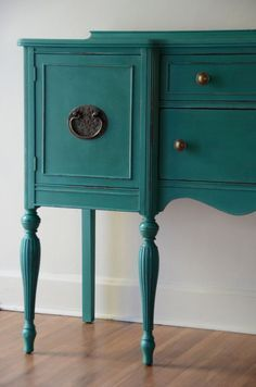 Hand Painted Sideboard/Buffet or entryway furniture by Estuary. #painted furniture #teal #turquoise #brasspulls - The paint color could be achieved with ASCP. Layers of Florence and Provence?