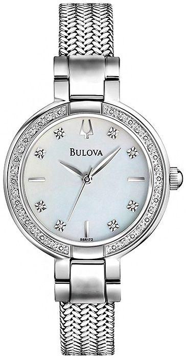 Zegarek damski Bulova Diamond 96R177 z prawdziwymi diamentami, perłową tarczą i pięknie plecioną bransoletą http://www.zegarek.net/zegarki/damskie/index.html