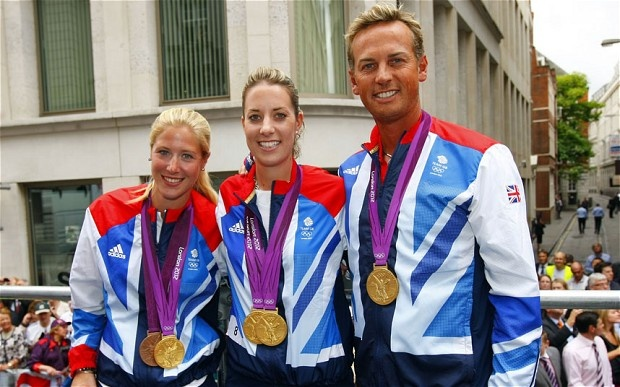 Team GB Equestrian medallists Laura Bechtolsheimer, Charlotte Dujardin and Carl Hester pose during the parade - Picture: David Davies/PA