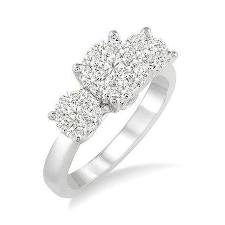 14k White Gold 3-Stone Diamond Ring-Andrews Jewelers Buffalo NY