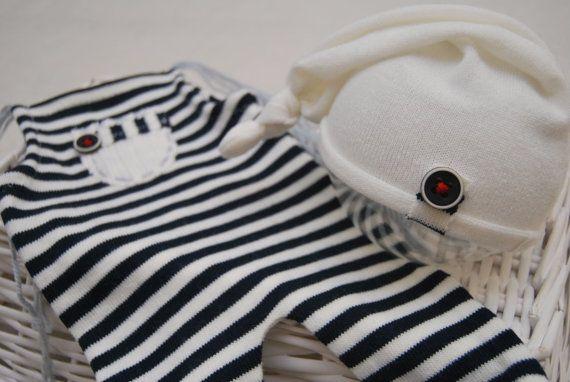 Conjunto de niño recién nacido: General rayas azul marino y