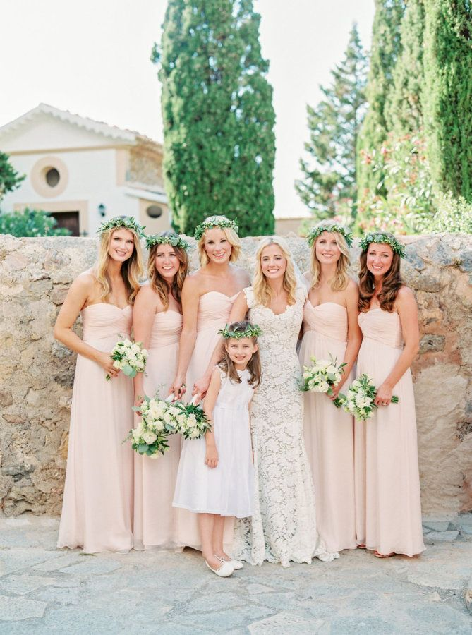 Blush Mismatched Bridesmaids Dresses Http Itgirlweddings Com A Wedding Abroad In Mallorca Bridesmaid Bridesmaid Dress Styles Bridal Wedding Dresses