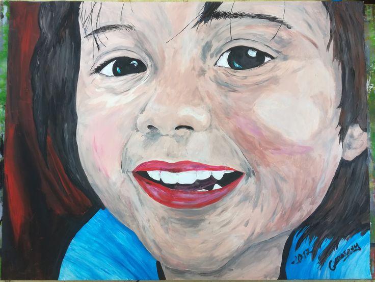 """Dessin Peinture portrait enfant petite fille """"little princess"""" 50x65 cm de la boutique vanspeygalleryart sur Etsy"""