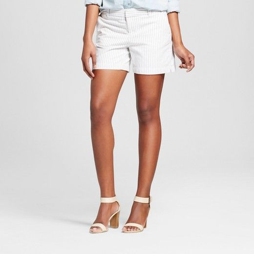 """Play with your separates with the Women's 5"""" Chino Shorts by Merona™ in Navy Stripe. This staple piece has a neutral nature and comfy fit, these women's striped shorts get dressed up or down."""