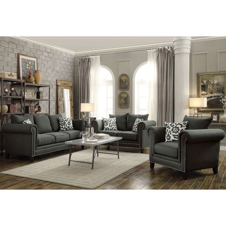 Traditional Style Living Room Furniture: Traditional French Design With Nailhead Trim Living Room