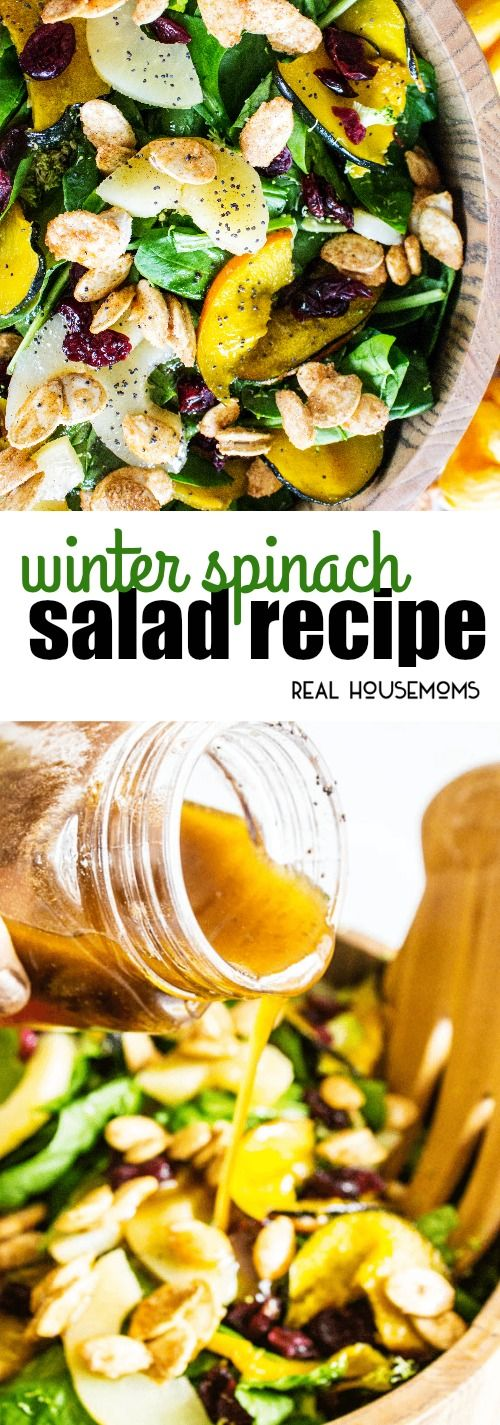 Winter Spinach Salad is a stunning salad recipe that is perfect for the holidays! Full of nutritious ingredients and amazing flavors, it will work as a side or a lighter main course!