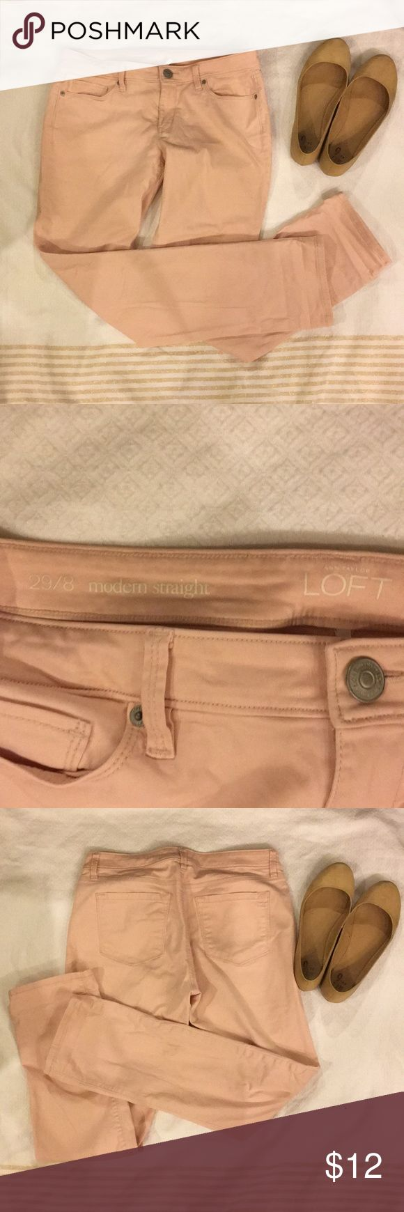 LOFT Light Pink Pants Fun colored jeans! Very soft material and have a straight leg. Adorable with flats or sneakers! LOFT Pants Straight Leg