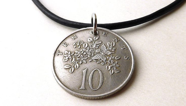 Jamaican, Coin necklace, Flowers, Butterfly, Coin jewelry, Gift for him or her, Men's necklace, Leather necklace, Pendant, Coins, 1969 by CoinStories on Etsy