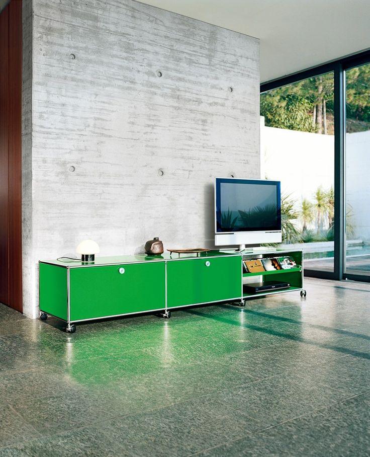 Modern modular lowboard with casters USM Haller Lowboard as Media Unit - USM Modular Furniture