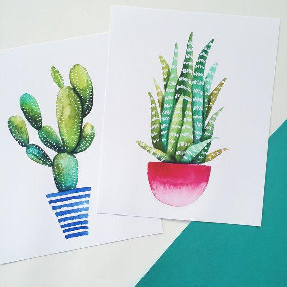 Print of original watercolor painting of a cactus, succulent. ombre pot…