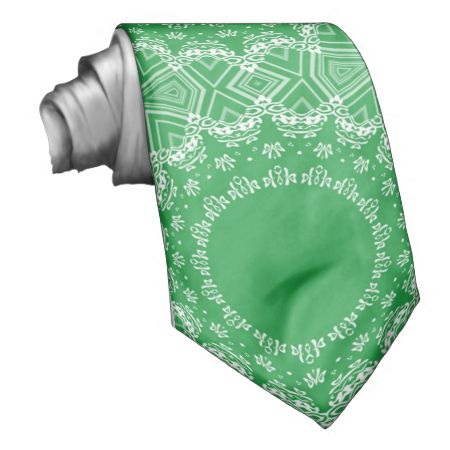 Green and white pattern necktie