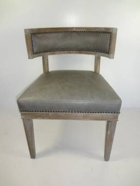 Parker Leather And Wood Curved Back Dining Or Sitting Chair With Light Grey  Washed Wood Finish