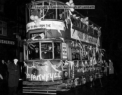 Last tram, Streatham. Tram no 33. 5th April 1951.