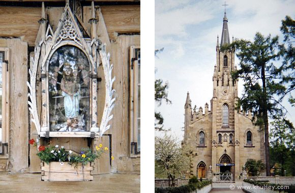 Carved wooden shrine (left), Gothic Swiety Jacek stone church (right)  in historic Chocholow, Poland.