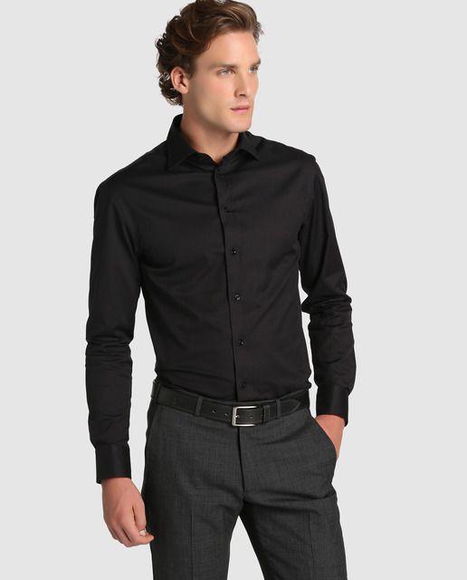 Camisa de hombre Armani Collezioni regular lisa negra
