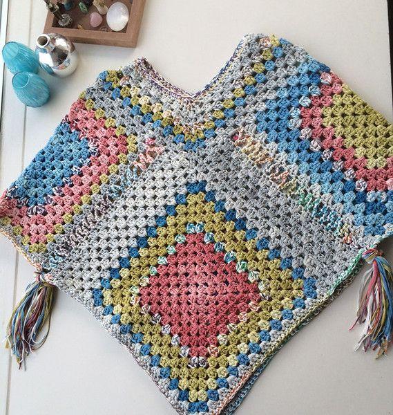 Gratis patroon granny square poncho – Knotten
