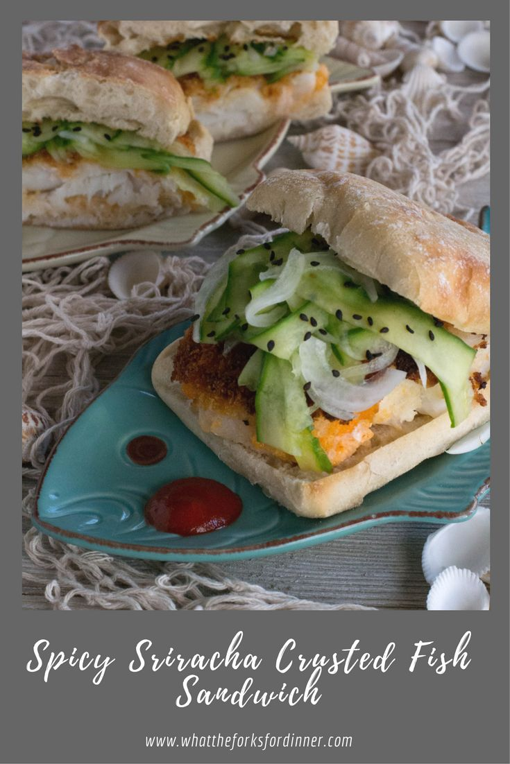 Spicy Sriracha Crusted Fish Sandwich-Crispy, spicy fish sandwich. Sriracha and panko crumbs make a crispy fish filet, on ciabatta roll, with cucumber ribbons.