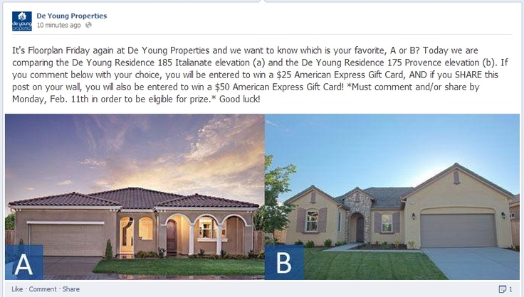 It's Floorplan Friday at De Young Properties, which is your favorite, A or B? Today we are comparing the De Young Residence 185 Italianate elevation (a) & the De Young Residence 175 Provence elevation (b). If you visit our Facebook page and comment and/or share this photo you will be entered to win an American Express Gift Card! *Must comment and/or share by Monday, Feb. 11th in order to be eligible for prize.* www.facebook.com/dyproperties