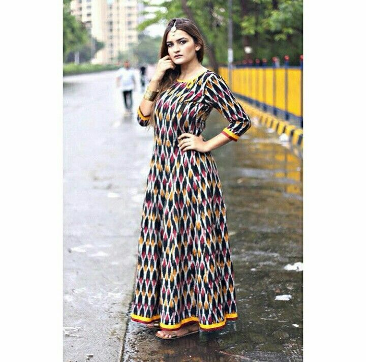 Black Colorful Ikat cotton Maxi.