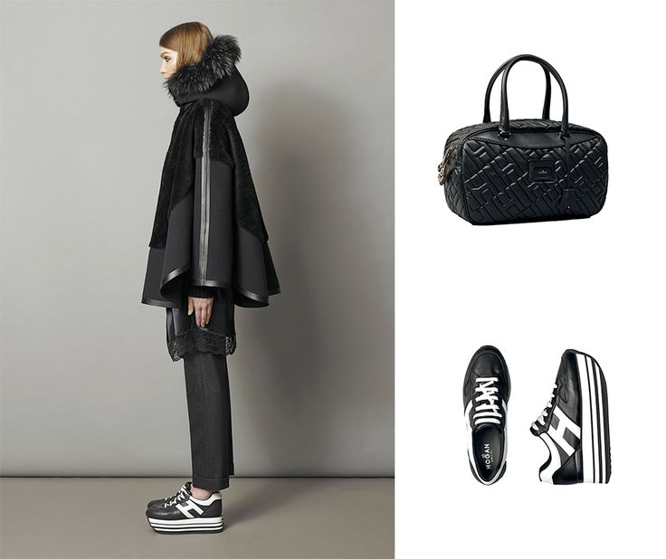 #‎HOGAN‬ H283 Maxi Platform sneakers and quilted Bowling bag for an avant-garde look.