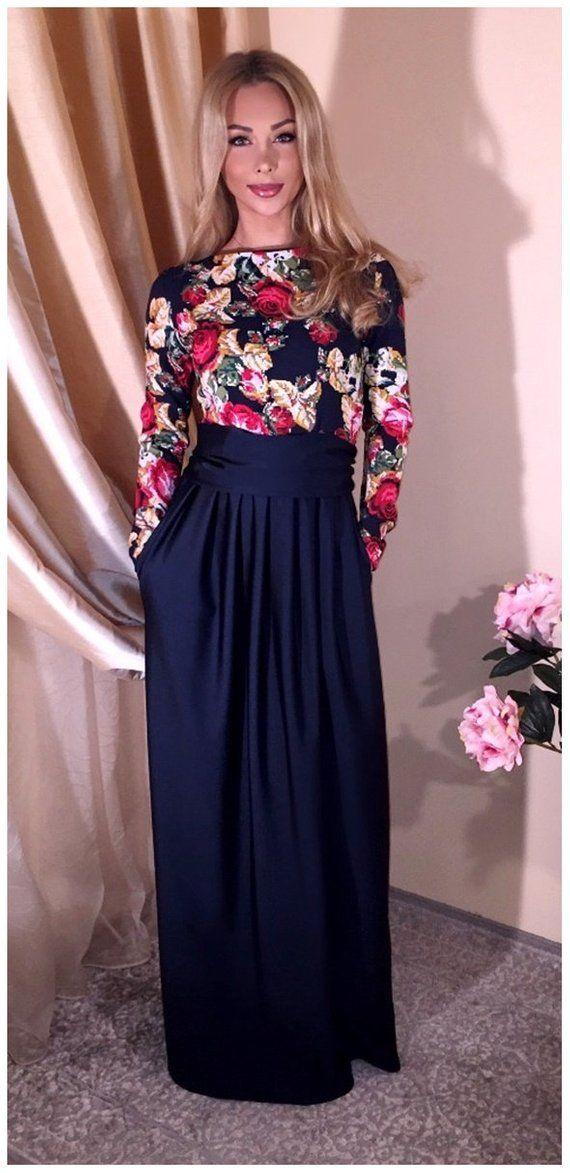 c6c4629b5f7 Navy Blue Top With Roses/ Maxi Dress Long Sleeves Pockets Sash   I ...